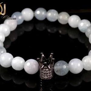 ست دستبند دخترانه و پسرانه سنگ ماه با مهره کینگ و کویین ds-n161 از نمای نزدیک