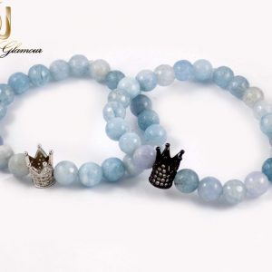 ست دستبند دخترانه و پسرانه سنگ ماه با مهره کینگ و کویین ds-n161 از نمای بالا