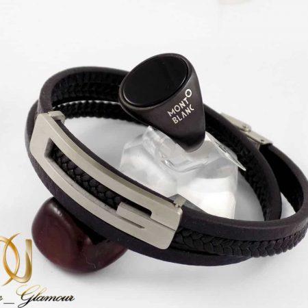 ست دستبند و انگشتر مردانه طرح گوچی و مونت بلانک gl-s105 از نمای روبرو