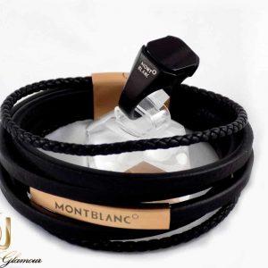 ست دستبند و انگشتر مردانه مونت بلانک با چرم طبیعی و استیل ضد زنگ gl-s103 از نمای نزدیک
