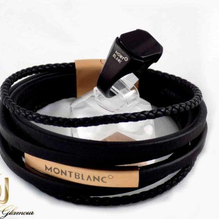 ست دستبند و انگشتر مردانه مونت بلانک با چرم طبیعی و استیل ضد زنگ gl-s103