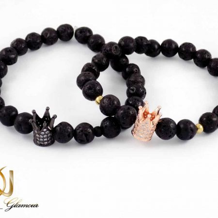 ست دستبند کینگ و کویین دخترانه و پسرانه با سنگ لاوا ds-n156 از نمای روبرو