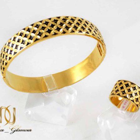 نیم ست دستبند و انگشتر زنانه طرح طلا به شکل دایره ای gl-s104 از نمای بالا