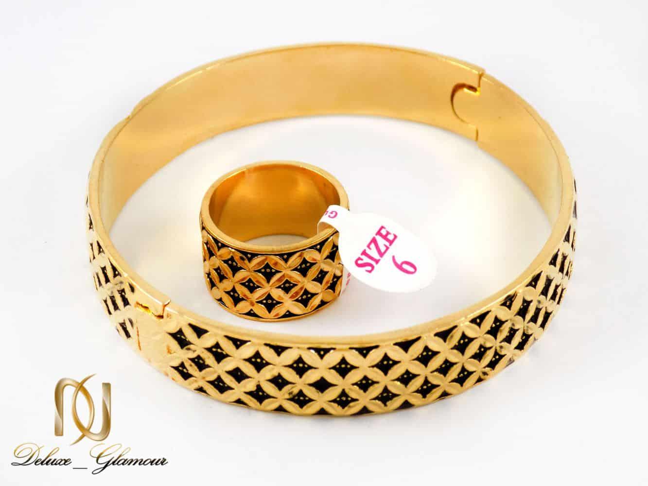 نیم ست دستبند و انگشتر زنانه طرح طلا به شکل دایره ای gl-s104