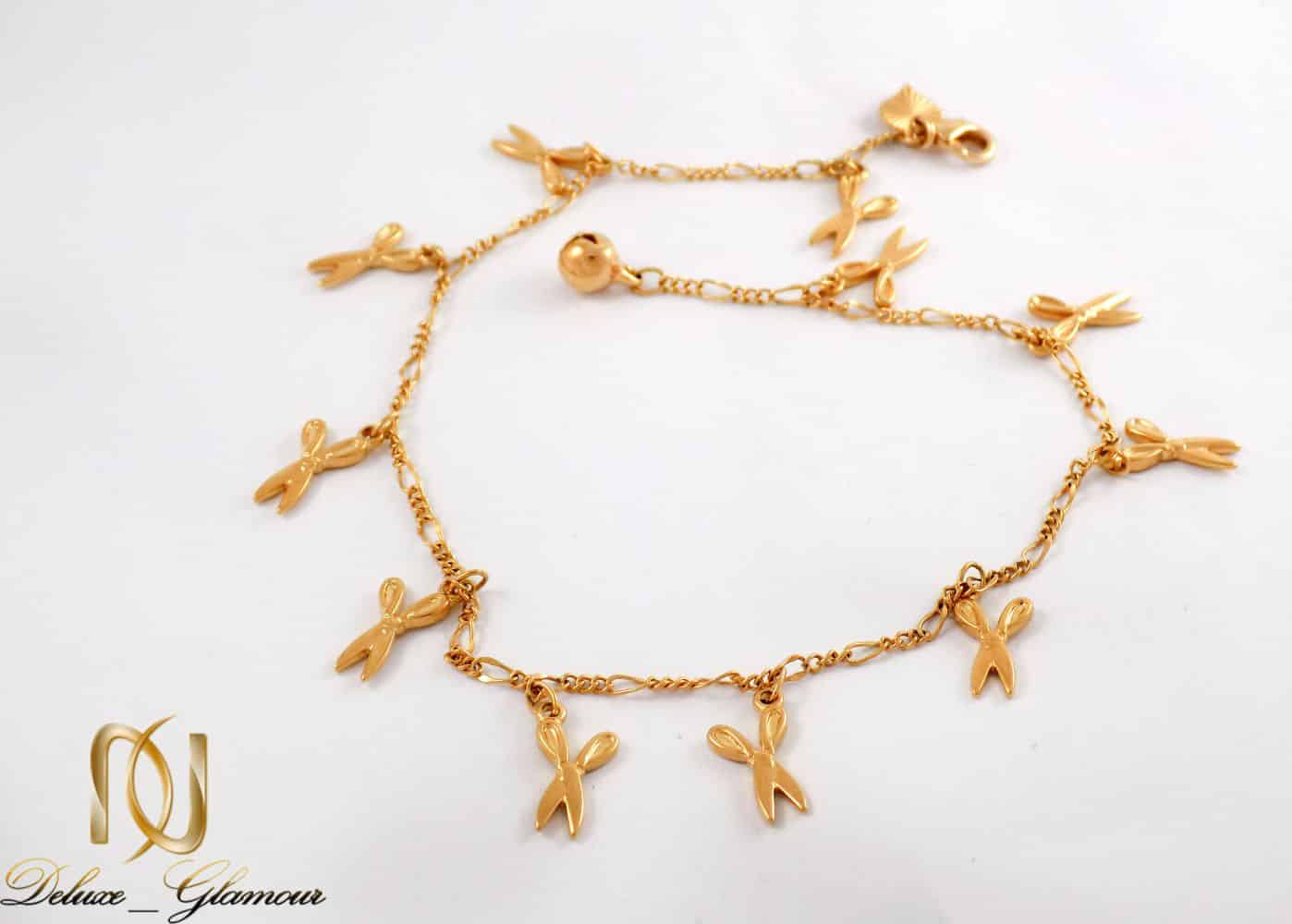 پابند زنانه ژوپینگ با طرح قیچی و روکش آب طلای 18 عیار se-n112 از نمای نزدیک
