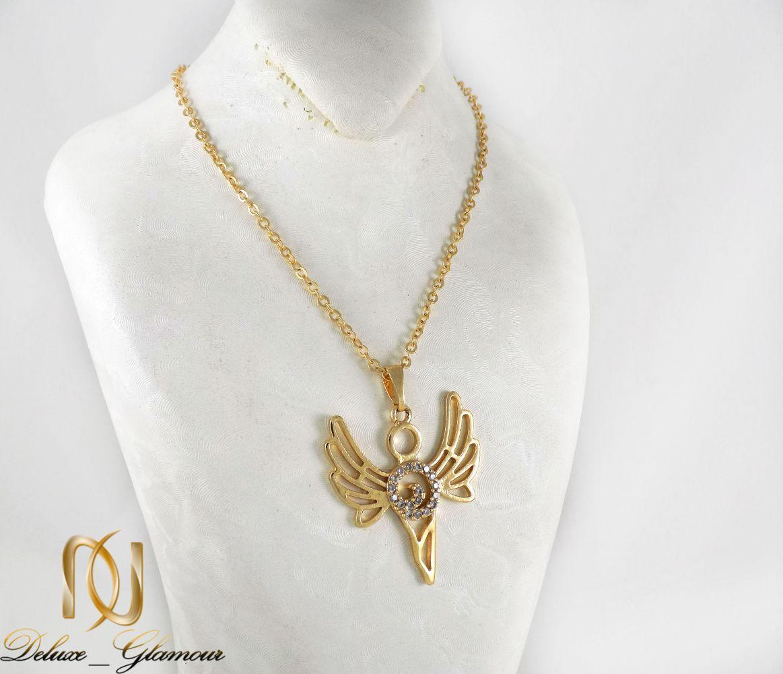 گردنبند دخترانه استیل طرح آنجل با نگین های سفید زیرکونیا nw-n180