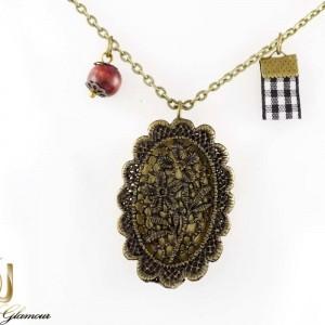 خرید گردنبند رومانتویی دخترانه رزینی قاب عکس با طرح گل nw-n189 از نمای روبرو