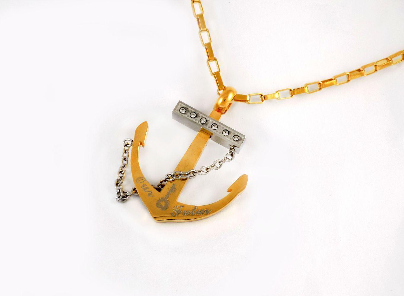 گردنبند مردانه استیل طرح لنگر با زنجیر آجری 24 سانتی nw-n192