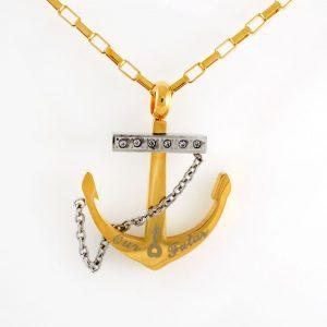 گردنبند مردانه استیل طرح لنگر با زنجیر آجری 24 سانتی nw-n192 از نمای روبرو