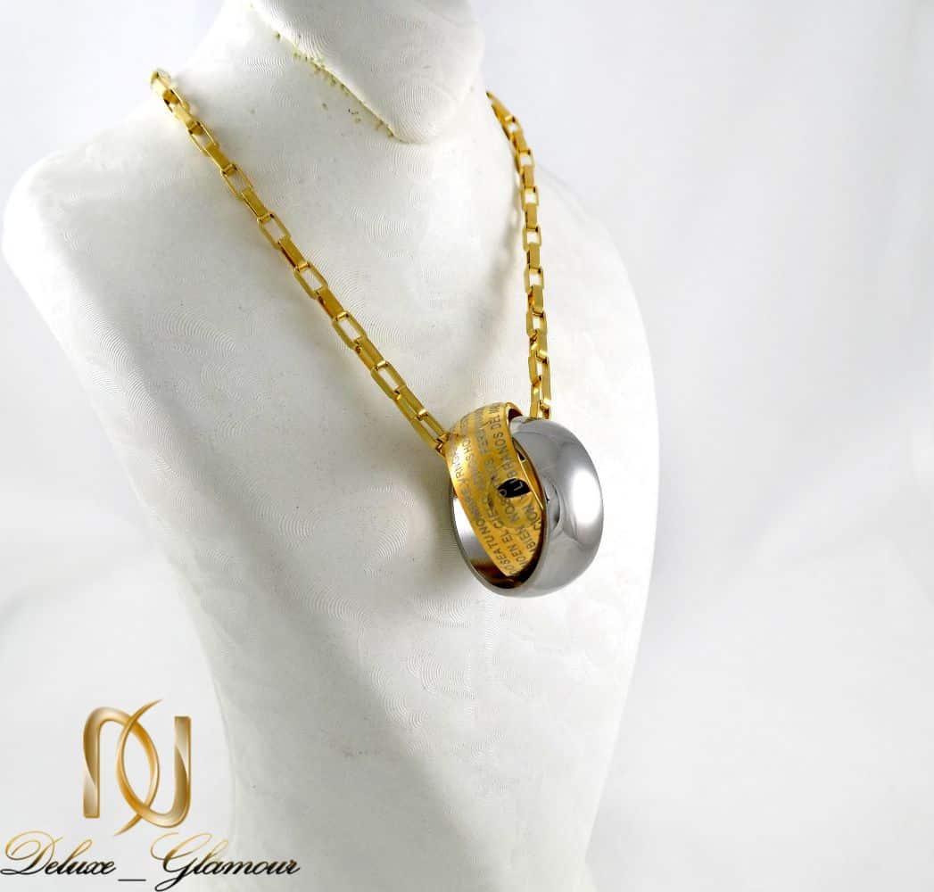 گردنبند مردانه طرح حلقه در هم نقره ای و طلایی با زنجیر آجری nw-n186