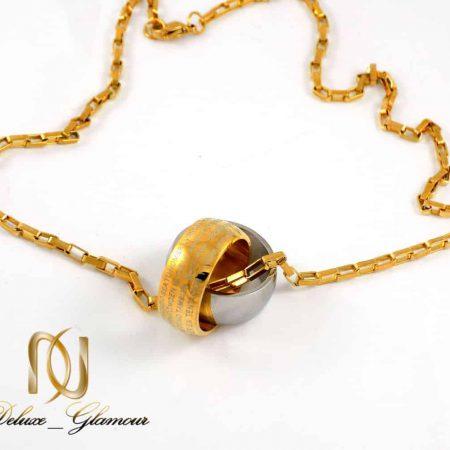 گردنبند مردانه طرح حلقه در هم نقره ای و طلایی با زنجیر آجری nw-n186 از نمای دور
