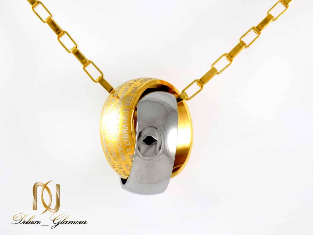 گردنبند مردانه طرح حلقه در هم نقره ای و طلایی با زنجیر آجری nw-n186 از نمای روبرو