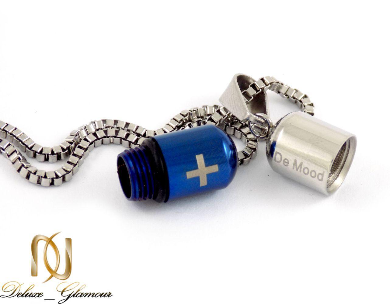 گردنبند مردانه کپسول آبی و نقره ای سریال عاشقانه با زنجیر 22 سانتی nw-n185