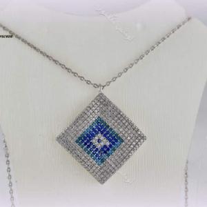 خرید گردنبند طرح چشم نظر کلیو با کریستالهای سواروفسکی - عکس اصلی
