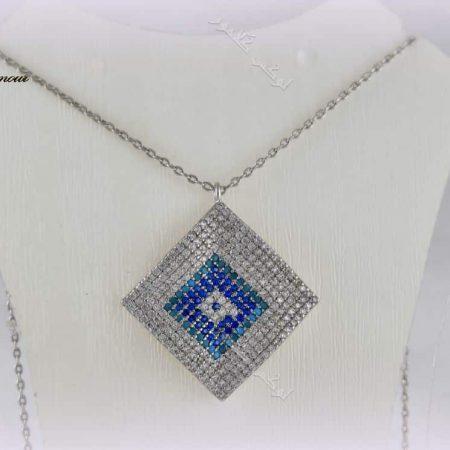گردنبند لوزی طرح چشم نظر کلیو با کریستالهای سواروفسکی - عکس اصلی