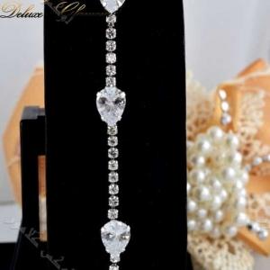 دستبند جواهری دخترانه طرح اشک با کریستالهای سواروفسکی - زمینه مشکی