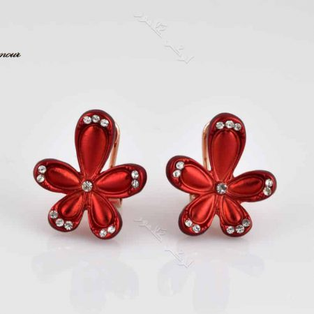 گوشواره دخترانه اسپرت قرمز کلیو طرح گل با نگین های سواروفسکی - عکس اصلی