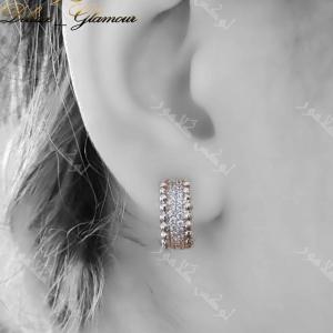 گوشواره حلقه ای دخترانه کلیو با کریستالهای سواروفسکی اصل - عکس روی گوش
