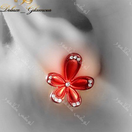 گوشواره دخترانه اسپرت قرمز کلیو طرح گل با نگین های سواروفسکی - روی گوش
