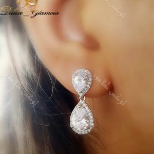گوشواره زیبا دخترانه طرح جواهری کلیو با کریستال سواروفسکی- عکس روی گوش