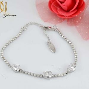 دستبند جواهری دخترانه طرح اشک با کریستالهای سواروفسکی - عکس اصلی
