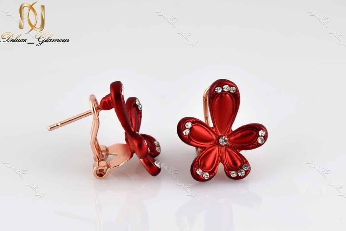 گوشواره دخترانه اسپرت قرمز کلیو طرح گل با نگین های سواروفسکی Er-n142