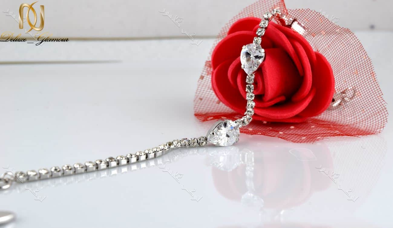 دستبند جواهری دخترانه طرح اشک با کریستالهای سواروفسکی Ds-n161
