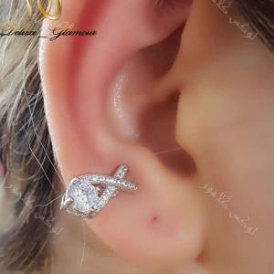 گوشواره کلیپسی جواهری کلو با کریستالهای سواروفسکی - عکس روی گوش