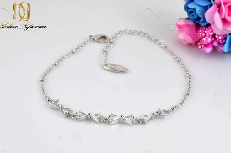 دستبند جواهری دخترانه طرح پاپیون با کریستالهای سواروفسکی - عکس اصلی