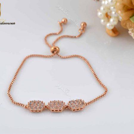 دستبند دخترانه بند کراواتی کلیو با کریستالهای سواروفسکی - عکس اصلی