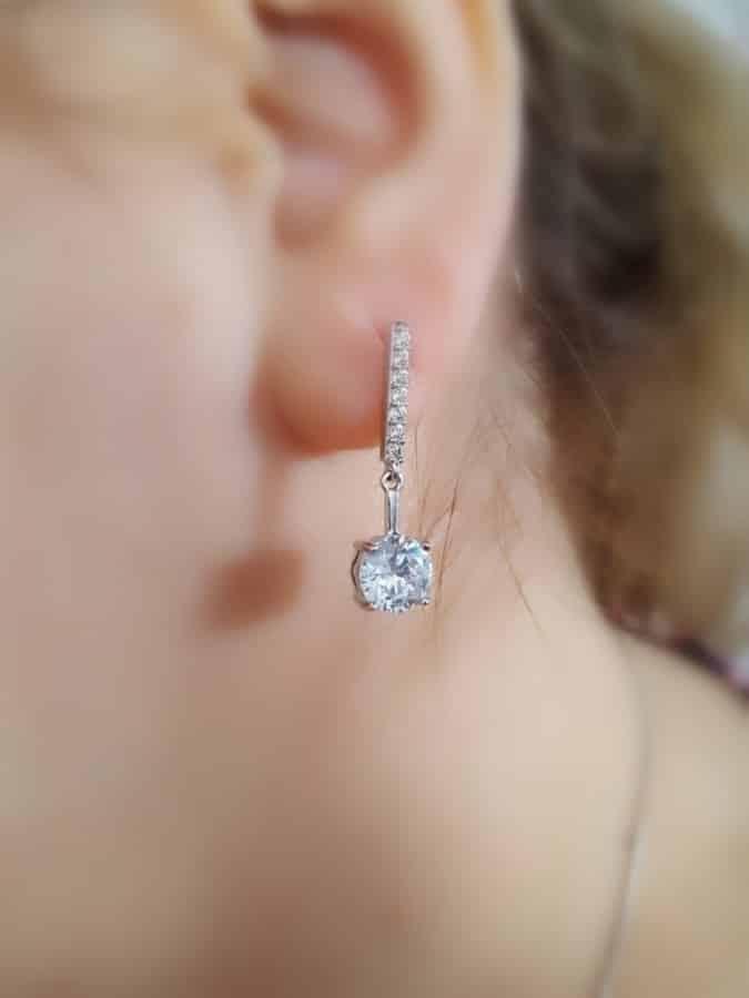 گوشواره آویزی جواهری کلیو با کریستالهای سواروفسکی Er-n134