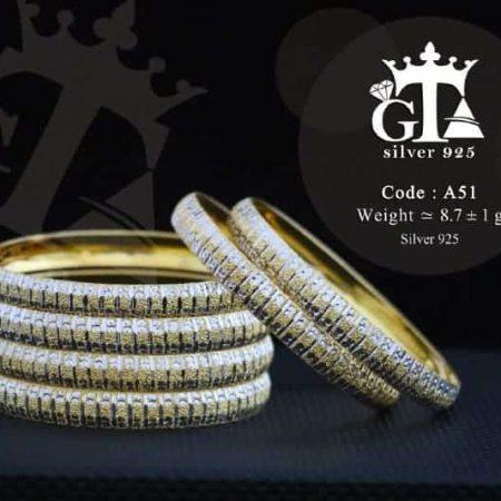 النگو نقره زنانه طرح طلا دو رنگ با نگین برلیان اتمی اصل AL-n101 از نمای روبرو