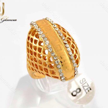 انگشتر زنانه استیل طرح طلا با نگین های سفید زیرکونیا RG-N183