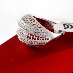خرید انگشتر زنانه توری استیل برند C.D طرح طلا سفید rg-n195