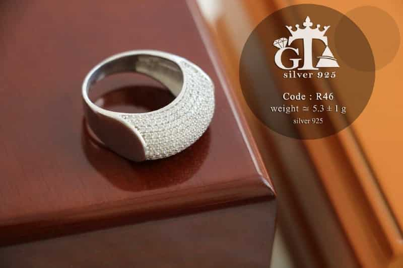 انگشتر زنانه نقره نگین اتمی عیار 925 تایلندی RG-N184 از نمای بالا