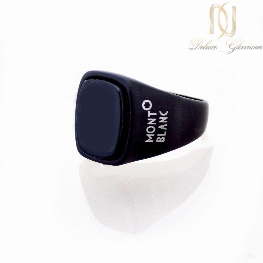 انگشتر مردانه استیل مشکی طرح مونت بلانک با نگین برجسته RG-N178 از نمای پایین