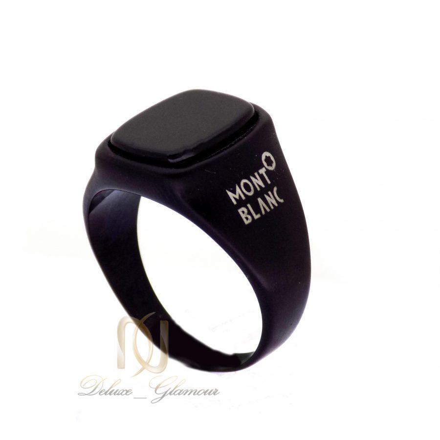 انگشتر مردانه استیل مشکی طرح مونت بلانک با نگین برجسته RG-N178 از نمای کنار