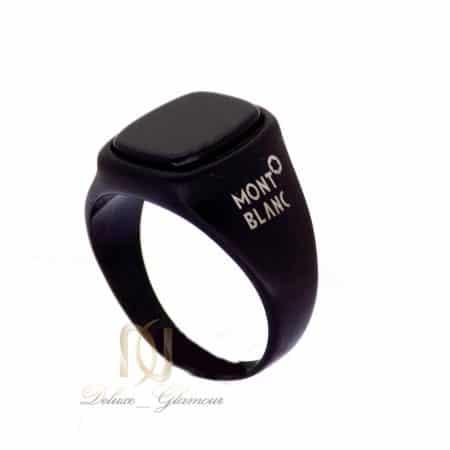 انگشتر مردانه استیل مشکی طرح مونت بلانک با نگین برجسته RG-N178