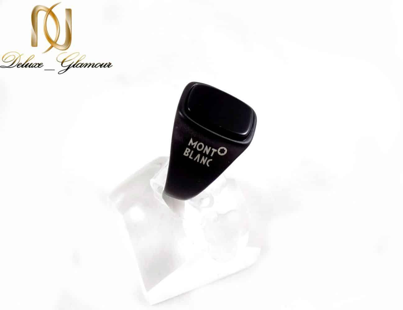 انگشتر مردانه استیل مشکی طرح مونت بلانک با نگین برجسته RG-N178 از نمای روبرو