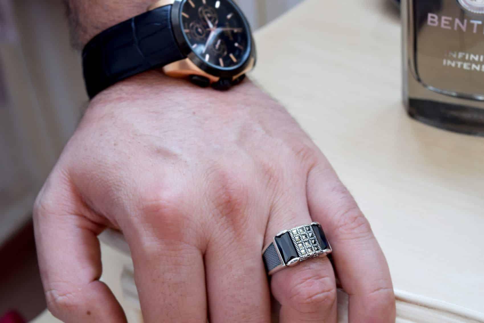 انگشتر مردانه نقره 925 لوکس با مارکازیت سواروسکی rg-n185 (3)