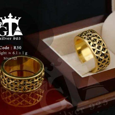ست حلقه نقره 925 طرح طلا با روکش آب طلای 18 عیار rg-n185 از نمای بالا