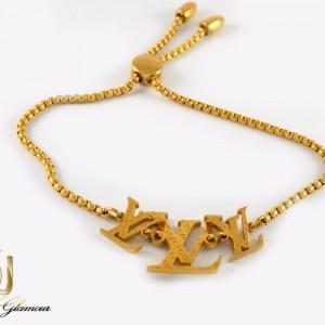 دستبند دخترانه مارشالی طرح LOUIS VUITTON استیل ds-n213 از نمای پایین