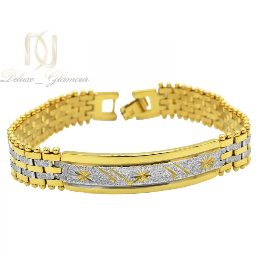 دستبند زنانه استیل دو رنگ طرح بند ساعتی با قفل جعبه ای ds-n212 از نمای جدید