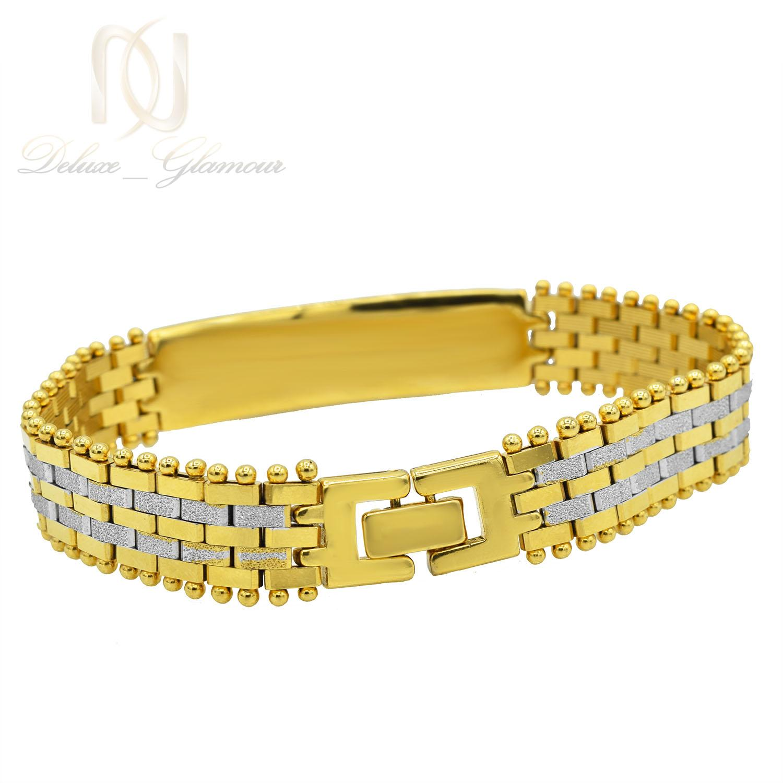 دستبند زنانه استیل دو رنگ طرح بند ساعتی با قفل جعبه ای ds-n212 از نمای پشت