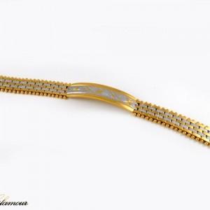 دستبند زنانه استیل دو رنگ طرح بند ساعتی با قفل جعبه ای ds-n212 از نمای بالا