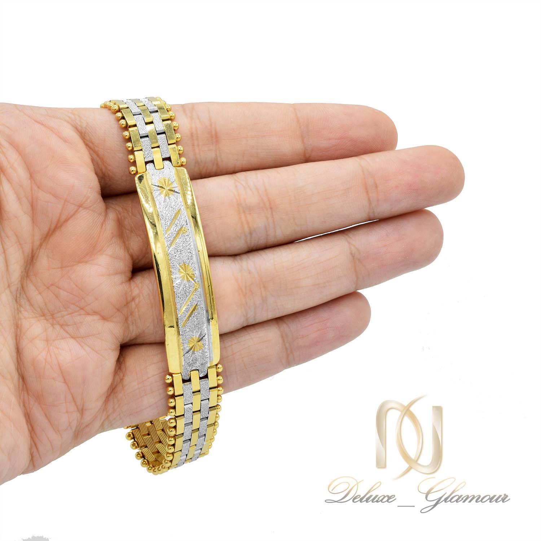 دستبند زنانه استیل دو رنگ طرح بند ساعتی با قفل جعبه ای ds-n212 از نمای روی دست