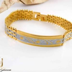 دستبند زنانه استیل دو رنگ طرح بند ساعتی با قفل جعبه ای ds-n212 از نمای روبرو