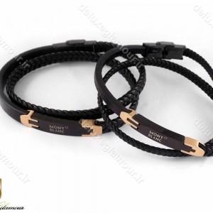 دستبند ست چرم مشکی رزگلد مونت بلانک طرح بافت با قفل آهنربایی - عکس از بالا