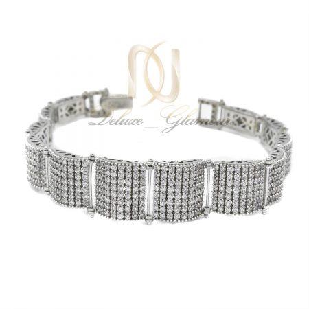 دستبند نقره جواهر با نگین اتمی برلیان ds-n16 از نمای سفید
