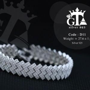 دستبند نقره زنانه جواهر با نگین های برلیان اتمی DS-N215 از نمای پایین